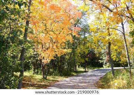 Scenic fall landscape in the province of Manitoba, Canada - stock photo