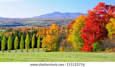 Scenic fall landscape in the province of Quebec, Canada - stock photo