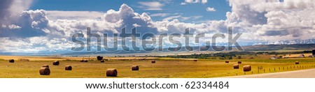 Scenic farmland in the  foothills near Calgary Alberta Canada - stock photo