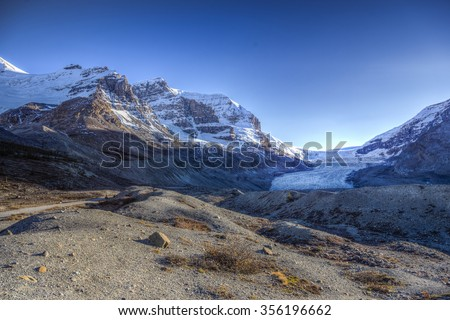 Scenic Glacier views of the Columbia Icefields Jasper National Park Alberta Canada - stock photo