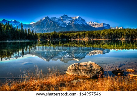 Scenic Herbert Lake on the Icefields Parkway, Banff National Park - stock photo