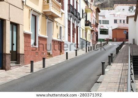 Scenic housing facades on Gomera island, Spain - stock photo