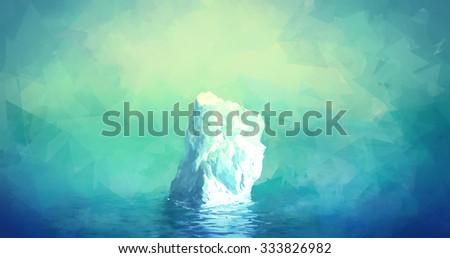 Scenic Illustration of Iceberg in Greenland. Glacier floats in the polar sea - stock photo