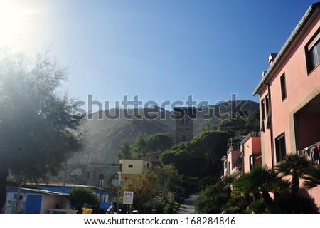 scenic Italy series- Monterosso al Mare Beach, Cinque Terre, Italy. - stock photo