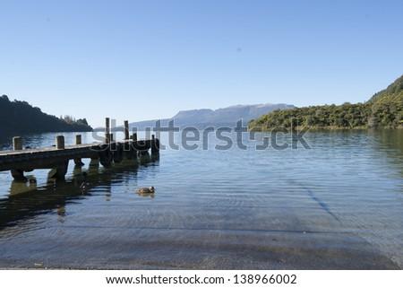 Scenic Lake Tarawera, new zealand. - stock photo
