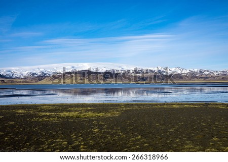 Scenic lakes and snow covered mountains in Iceland during winter.