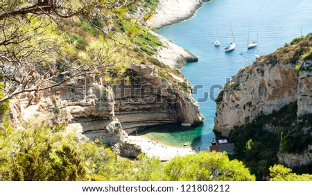 Scenic landscape about Stiniva bay in vis island - stock photo