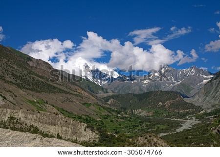 Scenic landscape - Haramosh Peak - Elevation 7,397 m - stock photo