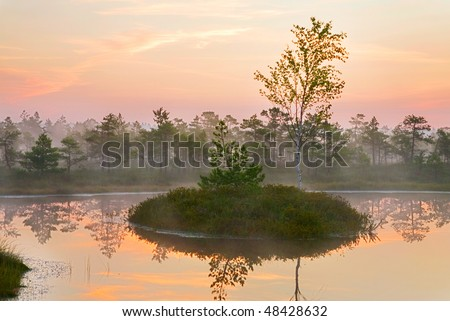 Scenic landscape in early morning - stock photo