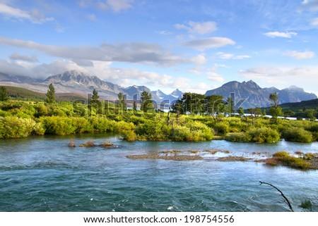 Scenic landscape in Glacier national park - stock photo