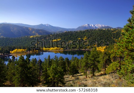 Scenic landscape in Rocky mountains - stock photo