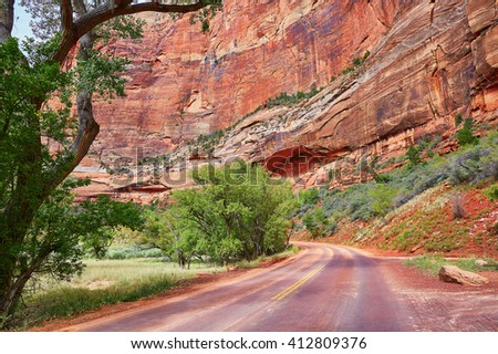 Scenic landscape in Zion national park, Utah, USA - stock photo