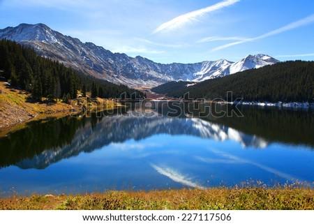 Scenic landscape near Clinton Gulch dam reservoir - stock photo