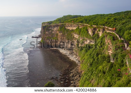 Scenic landscape of high cliff at Uluwatu Temple, Bali, Indonesia
