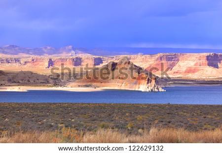 Scenic landscape of lake Powell in Arizona - stock photo