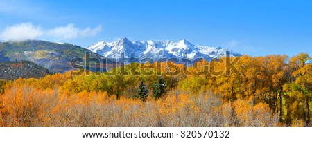 Scenic landscape of Mount Sneffles from back road Colorado 7. - stock photo