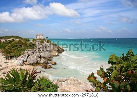 Scenic landscape of Tulum ruins in Mexico - stock photo