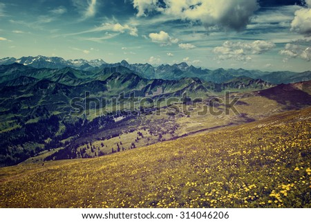 Scenic Landscape View of Alpine Mountain Range from Grassy Hillside Flower Field on Sunny Day with Blue Sky with Retro Feel - stock photo