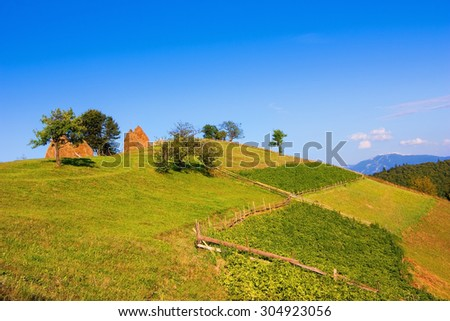 Scenic landscape with haystacks and pastures - stock photo