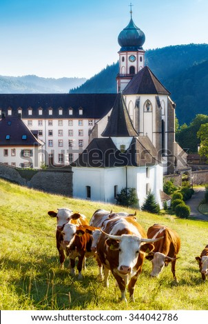 Scenic landscape with old monastery in Germany and cows grazing in fields, St. Trudpert, Muenstertal, Black forest - stock photo