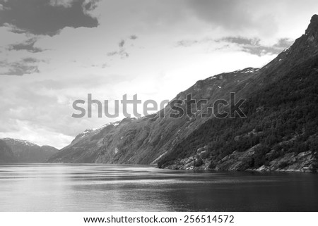 scenic landscapes of the northern Norwegian fjords.  stylish retro black and white photos - stock photo