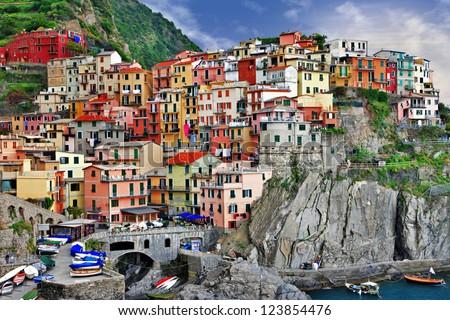 scenic Ligurian coast - Monarolla fishing village - stock photo