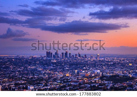 Scenic Los Angeles city cityscape at sunset - stock photo