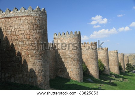 Scenic medieval city walls of Avila, Spain, UNESCO list - stock photo