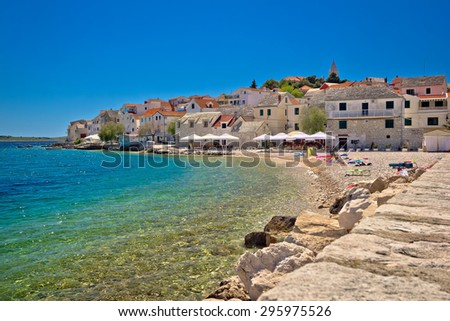 Scenic mediterranean beach in Primosten, Dalmatia, Croatia - stock photo