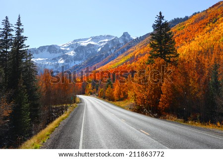 Scenic Million dollar high way in San Juan mountains - stock photo