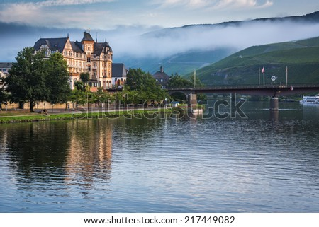 Scenic morning mist in Germany along the Rhine River - stock photo