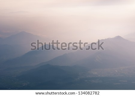 scenic mountain ridges in Japan by early morning