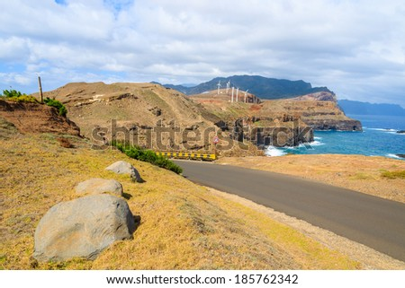 Scenic mountain road on Sao Lourenco peninsula with ocean in the background, Madeira island, Portugal