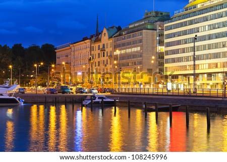 Scenic night view of pier in Helsinki, Finland - stock photo