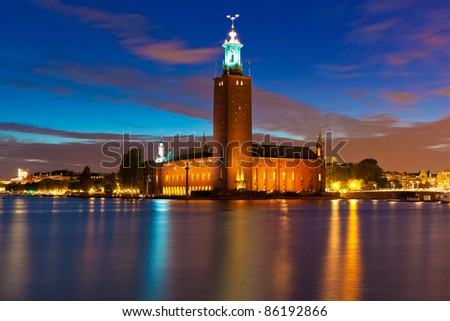 Scenic night view of the City Hall in the Old Town (Gamla Stan) in Stockholm, Sweden - stock photo