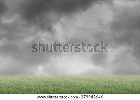 Scenic of clouds on heaven above the ground. Good background for you to put text or people on the ground. - stock photo