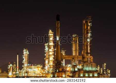 Scenic of oil refinery plant Industry at night, Chonburi Thailand