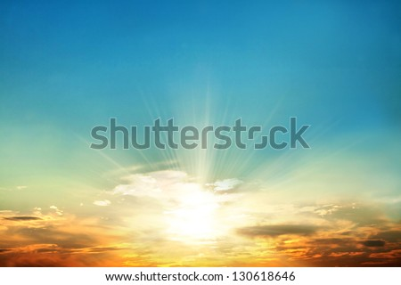 Scenic orange sunset sky background - stock photo
