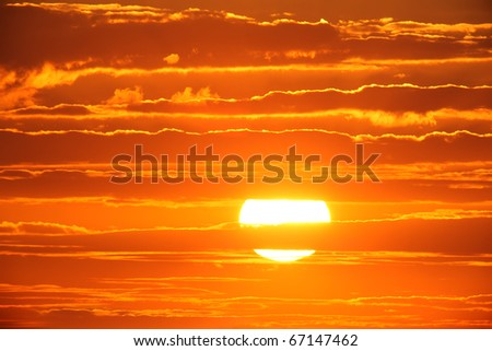 Scenic orange sunset sky background. - stock photo