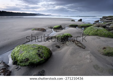 Scenic Otter Rock beach north of Newport, Oregon. - stock photo