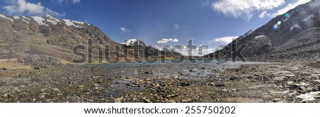 Scenic panorama of lake on arid landscape in Tajikistan on sunny day