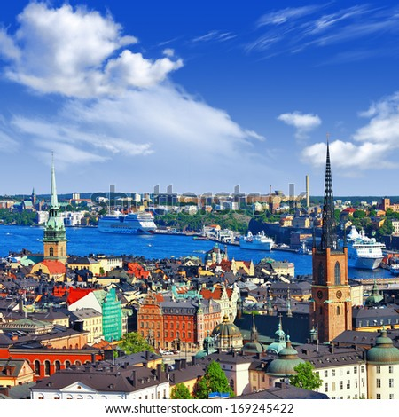 Scenic  panorama of the Old Town (Gamla Stan) in Stockholm, Swed - stock photo