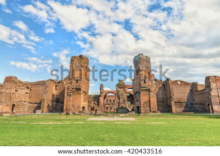 Scenic Panoramic View On The Central Part Of The Ancient Roman Baths Of  Caracalla ( Thermae