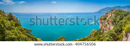 Scenic picture-postcard coast-to-coast panorama of famous Amalfi Coast with beautiful Gulf of Salerno, Campania, Italy - stock photo