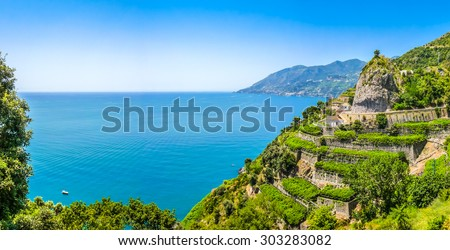 Scenic picture-postcard view of famous Amalfi Coast with beautiful Gulf of Salerno, Campania, Italy - stock photo