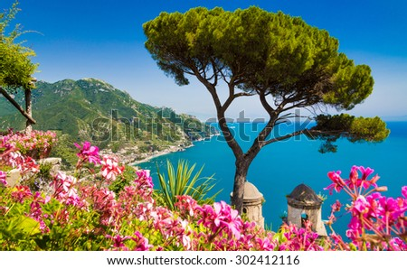 Scenic picture-postcard view of famous Amalfi Coast with Gulf of Salerno from Villa Rufolo gardens in Ravello, Campania, Italy - stock photo