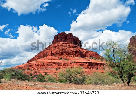 scenic red stone landscape of sedona, bell rock in arizona - stock photo