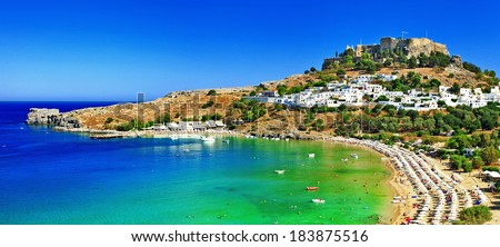 scenic Rhodes island, Lindos bay. Greece - stock photo