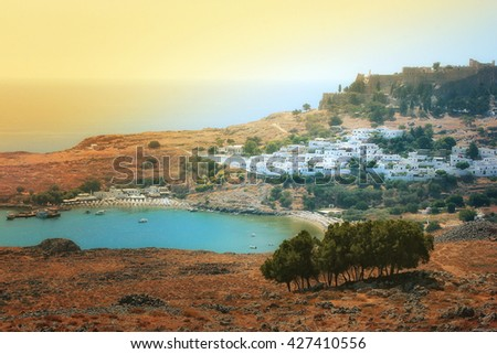 scenic Rhodes island, Lindos bay. Greece - stock photo