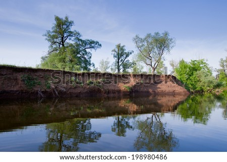 Scenic river landscape of green grass and trees on the shore with young foliage on a sunny calm day